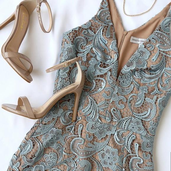 42549d01f46 Dress the Population Dusty Blue Lace Dress